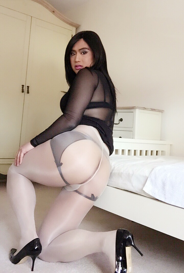 Backless panty sheer nylon teasing