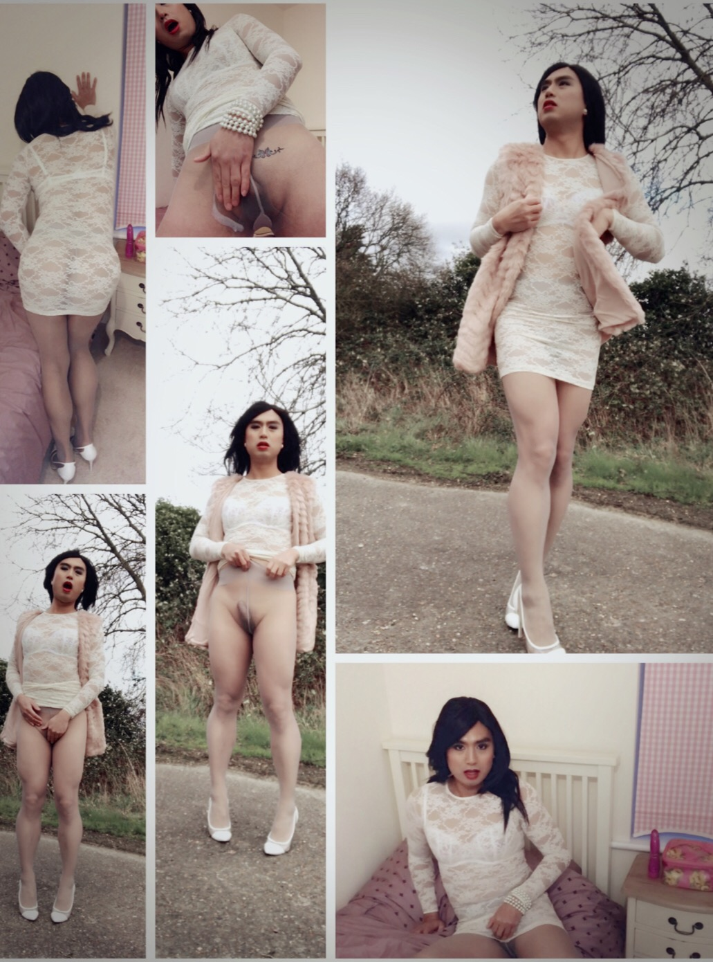 Shemale pantyhose outdoor exposure and masturbation